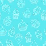 Sömlös modell med muffin på blå bakgrund söt modell också vektor för coreldrawillustration vektor illustrationer