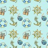 Sömlös modell med nautiska beståndsdelar som isoleras på pastellfärgad turkosbakgrund Gammalt binokulärt, livboj, antik segelbåts Royaltyfri Bild