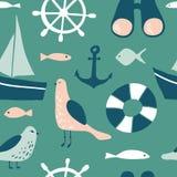 Sömlös modell med nautiska designbeståndsdelar stock illustrationer