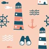 Sömlös modell med nautiska designbeståndsdelar royaltyfri illustrationer