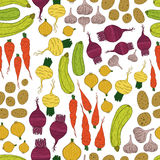 Sömlös modell med nya grönsaker Royaltyfria Foton