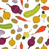 Sömlös modell med nya grönsaker Royaltyfri Foto