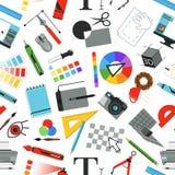 Sömlös modell med olika arbetshjälpmedel för formgivare och konstnärer royaltyfri illustrationer