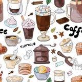 Sömlös modell med olika svett för kaffedrinkmyra på den vita bakgrunden vektor illustrationer