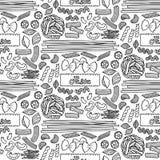 Sömlös modell med olika typer av pasta royaltyfri illustrationer