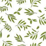 Sömlös modell med olivgröna filialer Royaltyfri Illustrationer