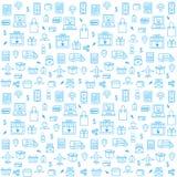 Sömlös modell med online-shoppingsymboler i den tunna linjen stil royaltyfri illustrationer