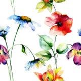 Sömlös modell med original- blommor Royaltyfria Bilder