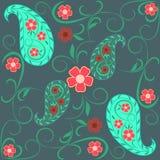 Sömlös modell med paisley och blommor stock illustrationer