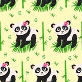 Sömlös modell med pandan och blommor - vektorillustration, eps royaltyfri illustrationer