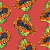Sömlös modell med papayaen Fotografering för Bildbyråer