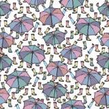 Sömlös modell med paraplyet och gummistöveler Royaltyfri Illustrationer