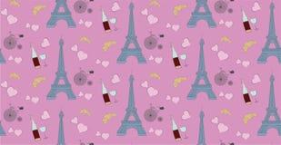 Sömlös modell med paris beståndsdelar, Eiffeltornflaska av vinhjärta och cykel Royaltyfri Bild