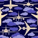 Sömlös modell med passagerareflygplan nummer två Royaltyfria Bilder