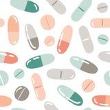 Sömlös modell med piller, kapslar, vitaminer stock illustrationer