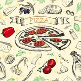 Sömlös modell med pizza Royaltyfri Bild