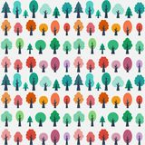 Sömlös modell med plana träd stock illustrationer