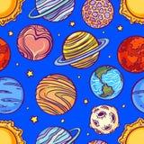 Sömlös modell med planeter Royaltyfri Foto