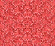 Sömlös modell med prickig våg Vektor som upprepar textur Stilfull röd monokrom bakgrund royaltyfri illustrationer