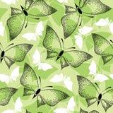Sömlös modell med prickiga fjärilar för svart Arkivbild