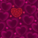 Sömlös modell med prickiga hjärtor på en mörk bakgrund Vektor Illustrationer