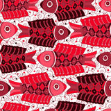 Sömlös modell med röda fiskar Royaltyfri Bild