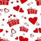 Sömlös modell med röda gåvaaskar och hjärtor för valentin dag vektorillustation royaltyfri illustrationer