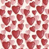 Sömlös modell med röda hjärtor på en vit bakgrund till dagen av den Sanka valentin royaltyfria foton