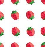 Sömlös modell med röda jordgubbar stock illustrationer