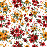 Sömlös modell med röda och gula blommor Arkivbild