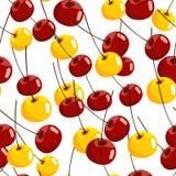 Sömlös modell med röda och gula körsbär Arkivbild