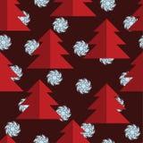 Sömlös modell med röda träd och blåa snöflingor vita röda stjärnor för abstrakt för bakgrundsjul mörk för garnering modell för de Royaltyfri Foto