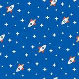 Sömlös modell med raket bland stjärnorna i utrymme Barnsligt tryck för tecknad film Gullig vektorillustration stock illustrationer