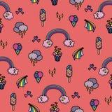 Sömlös modell med regnbågen Royaltyfria Bilder