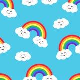 Sömlös modell med regnbågen och moln också vektor för coreldrawillustration royaltyfri illustrationer