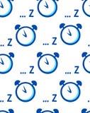 Sömlös modell med ringklockan och symbol av sömn på vit bakgrund Arkivfoton