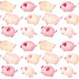 Sömlös modell med roliga svin kinesiskt nytt år stock illustrationer
