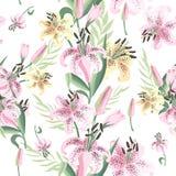 Sömlös modell med rosa färg- och gulingliljan vektor royaltyfri illustrationer