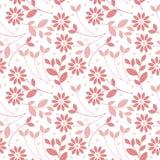 Sömlös modell med rosa färgblommor och sidor som isoleras på vit Royaltyfria Bilder