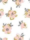 Sömlös modell med rosa färger och guldblommor vektor för detaljerad teckning för bakgrund blom- Arkivbilder