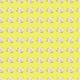 Sömlös modell med rosa färgrosen på gul bakgrund Arkivfoton