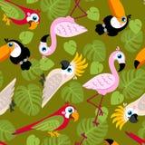 Sömlös modell med rosa flamingo, kakaduapapegojan, munkhättor, tukan och gräsplanpalmblad Arkivfoton