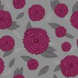 Sömlös modell med rosa rosor på grå bakgrund Royaltyfri Bild