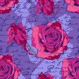 Sömlös modell med rosor, handskrift och vektor illustrationer