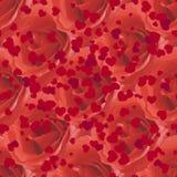 Sömlös modell med rosor och hjärtor Arkivfoton
