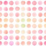 Sömlös modell med runda borsteslaglängder för ljusröd, rosa och gul vattenfärg arkivfoton