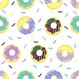 Sömlös modell med söta donuts - vektorillustration, eps stock illustrationer