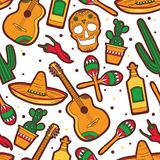 Sömlös modell med samlingen av mexikanska symboler dekorativ bakgrund stock illustrationer