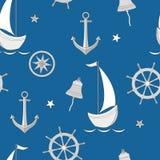 Sömlös modell med segelbåten, ankaret, styrninghjulet och livboj royaltyfri illustrationer