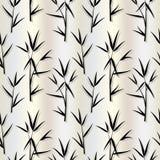 Sömlös modell med sidor för svart bambu och groddfilialer i japansk stil på beige bakgrund för silke- eller pärlaljus vektor illustrationer
